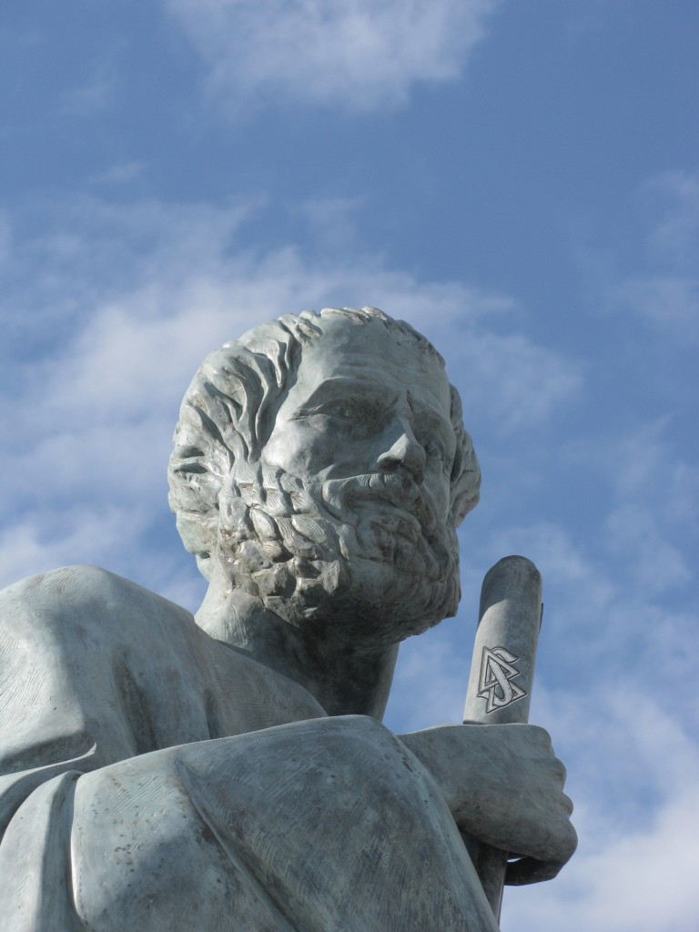What's not in the history books: Aristotle was not only a philosophical titan, but also an operating thetan (level 10).  Image credit: Tilemahos Efthimiadis (CC BY-SA; derivative)